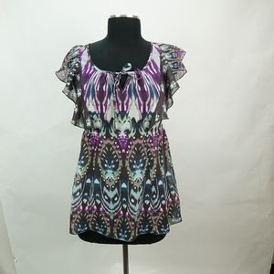 Sheer Aztec Print with Flowy Sleeves Blouse XS